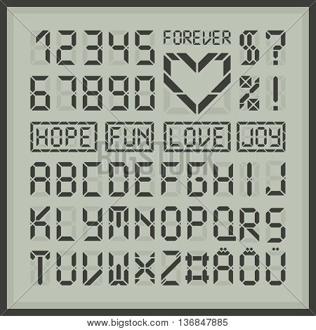 Digital display font letters and numbers. Common tech display latin alphabet. Heart element and some sample words.
