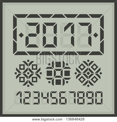Happy new year 2017 digital card. Place needed digit to get another new year message. Plus three digital snowflakes for decoration.