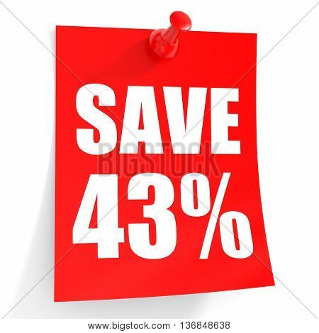 Discount 43 Percent Off. 3D Illustration On White Background.