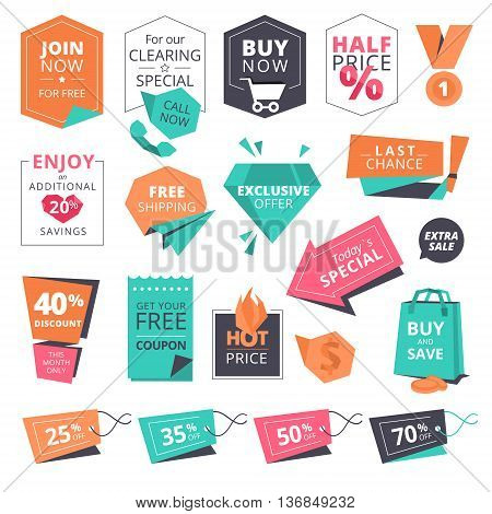 Set of flat design style badges and labels for shopping. Vector illustrations for website and mobile website, product promotion, sale banner template, ads, print material.