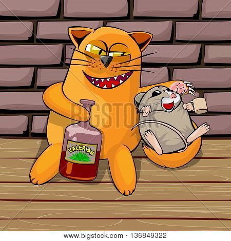 Red cat and mouse in the basement drinking valerian. Mouse drunk. cat look tricky he shows his teeth and claws. Cartoon vector illustration with isolated objects.