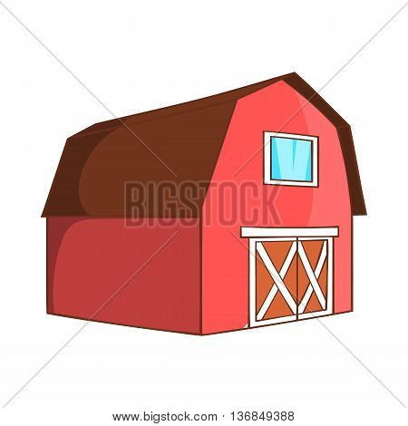Barn for animals icon in cartoon style isolated on white background. Buildings for animals symbol