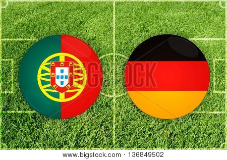 Portugal vs Germany icons at football field background