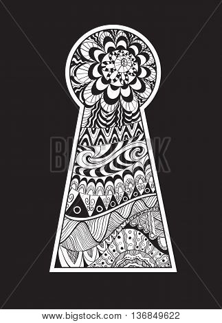 Hand drawn doodle, zentangle in a shape of keyhole.