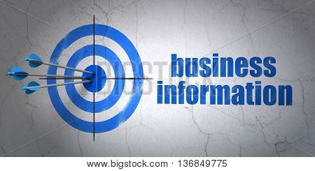 Success finance concept: arrows hitting the center of target, Blue Business Information on wall background, 3D rendering