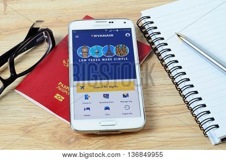 KOTA KINABALU MALAYSIA - JULY 1 2016: Ryanair on mobile app the app helps managing travel plans make bookings check-in and choose seat anytime anywhere.