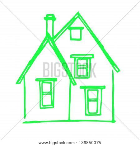 Graphic image of a house with a pipe. Abstraction is a green house on a white background. Sloppy picture of the child vector