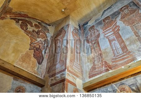 VELIKY NOVGOROD RUSSIA-JULY 1 2016. The Holy Trinity and Stylites - frescoes of Our Savior church on Ilyin street. Frescoes painting by Theophanes the Greek famous icon painter.