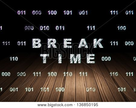Time concept: Glowing text Break Time in grunge dark room with Wooden Floor, black background with Binary Code