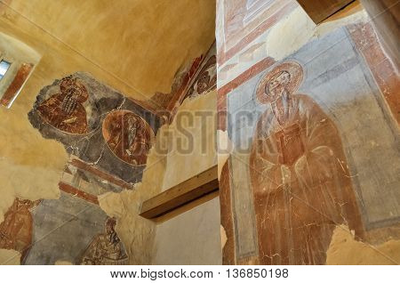 VELIKY NOVGOROD RUSSIA-JUL 12016.Frescoes of Our Savior church on Ilyin street-Reverend Arseny the Great and John of the LadderHoly Monk Nikifor Katavadsky.Frescoes painting by Theophanes the Greek.