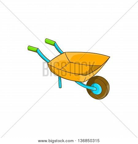 Garden wheelbarrow icon in cartoon style isolated on white background. Territory cleaning symbol