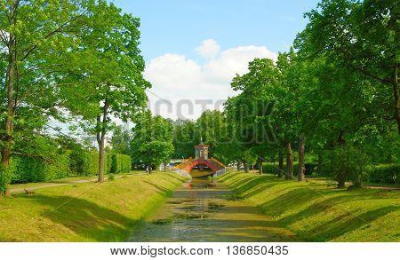 Cross the bridge in Alexander Park in Tsarskoye Selo