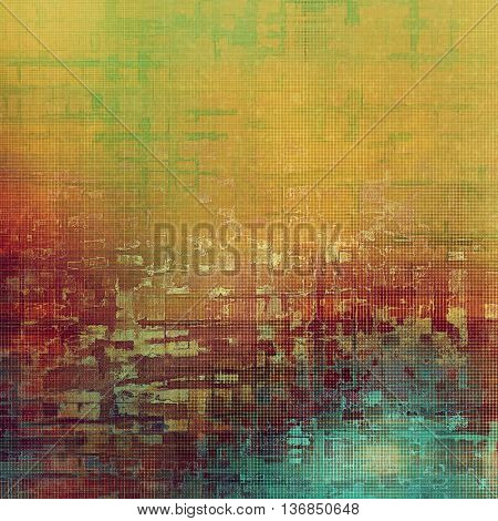 Distressed grunge texture, damaged vintage background with different color patterns: yellow (beige); brown; blue; green; red (orange); pink