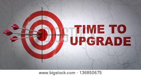 Success timeline concept: arrows hitting the center of target, Red Time To Upgrade on wall background, 3D rendering