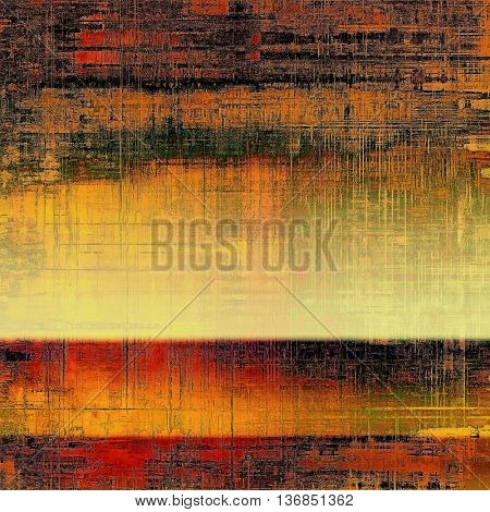 Vintage decorative texture with grunge design elements and different color patterns: yellow (beige); brown; black; green; red (orange); purple (violet)