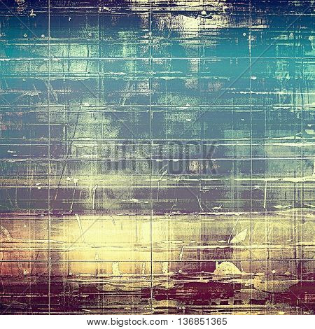 Vintage background in scrap-booking style, faded grunge texture with different color patterns: yellow (beige); gray; blue; purple (violet); cyan; pink