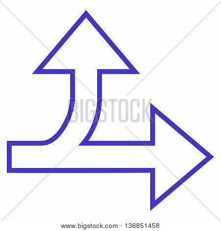 Split Direction Right Forward vector icon. Style is outline icon symbol, violet color, white background.