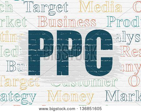 Marketing concept: Painted blue text PPC on White Brick wall background with  Tag Cloud