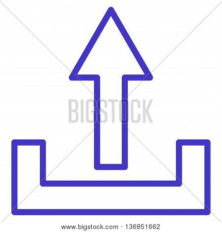 Upload vector icon. Style is contour icon symbol, violet color, white background.