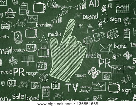 Advertising concept: Chalk Green Mouse Cursor icon on School board background with  Hand Drawn Marketing Icons, School Board
