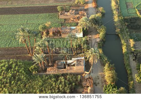 Villages near Aswan in Egypt from above