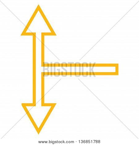 Bifurcation Arrow Up Down vector icon. Style is thin line icon symbol, yellow color, white background.