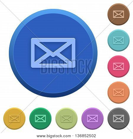 Set of round color embossed message buttons