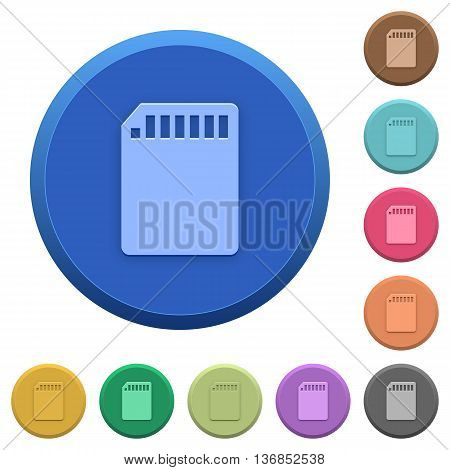 Set of round color embossed SD memory card buttons