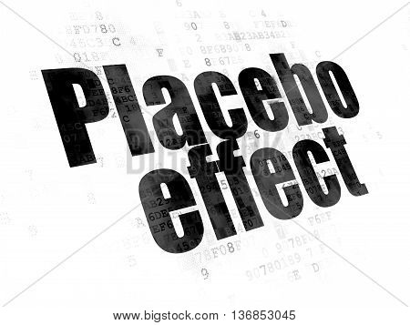Medicine concept: Pixelated black text Placebo Effect on Digital background