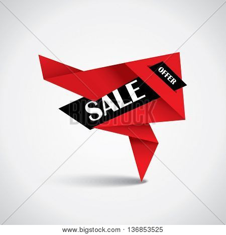 Sale bubble - origami special price tag in red and black colors