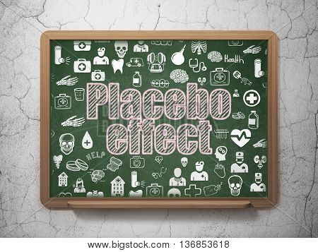 Health concept: Chalk Pink text Placebo Effect on School board background with  Hand Drawn Medicine Icons, 3D Rendering