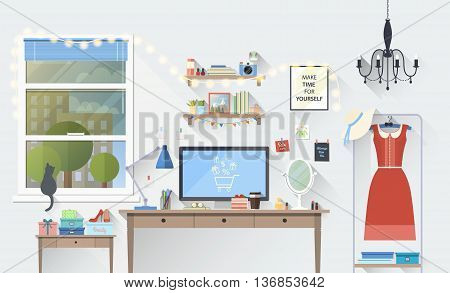 Vector illustration of modern girl workplace in room. Creative office workspace blogger with elements, objects. items, equipment. Flat minimalistic style with long shadow, modern colors, icons collection.