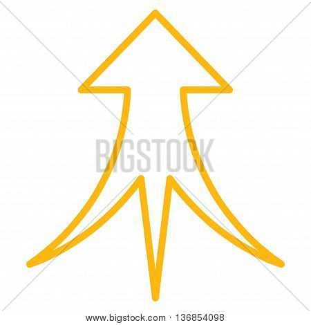 Merge Arrow Up vector icon. Style is outline icon symbol, yellow color, white background.