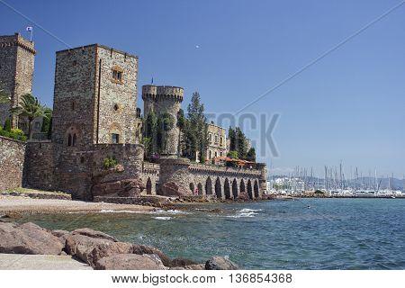 Mandelieu-la Napoule Castle and sea, South of France