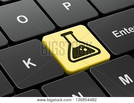 Science concept: computer keyboard with Flask icon on enter button background, 3D rendering
