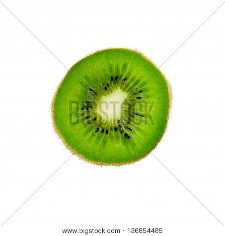 Cross Section Of Ripe Kiwi Isolated On White Background