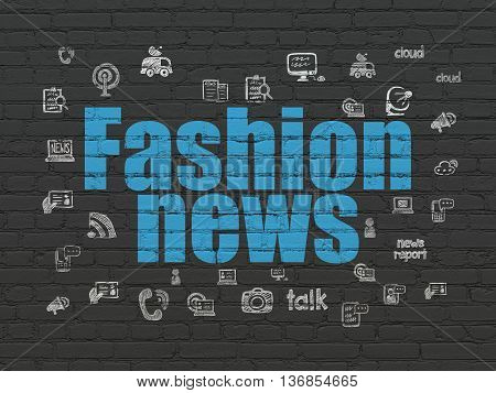 News concept: Painted blue text Fashion News on Black Brick wall background with  Hand Drawn News Icons