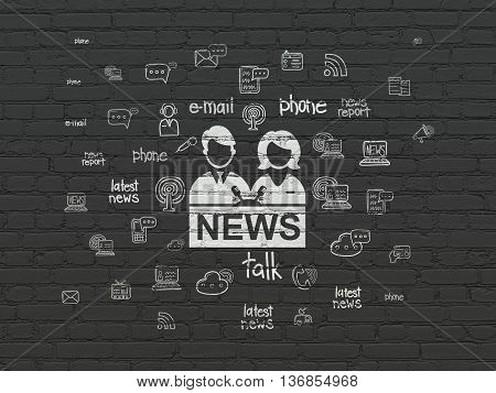 News concept: Painted white Anchorman icon on Black Brick wall background with  Hand Drawn News Icons