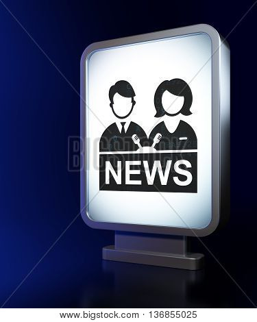 News concept: Anchorman on advertising billboard background, 3D rendering