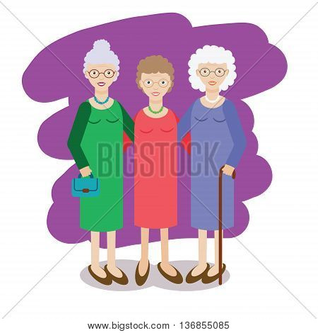 Group of aged ladies. Three old women company of elderly grandmothers. Vector illustration