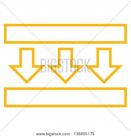 Pressure Down vector icon. Style is thin line icon symbol, yellow color, white background.