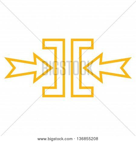 Pressure Horizontal vector icon. Style is stroke icon symbol, yellow color, white background.