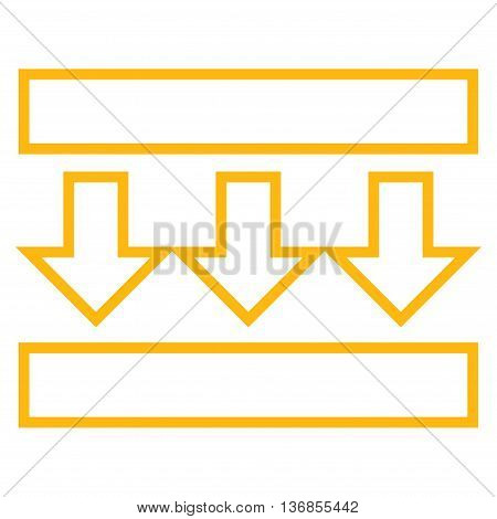 Pressure Vertical vector icon. Style is outline icon symbol, yellow color, white background.