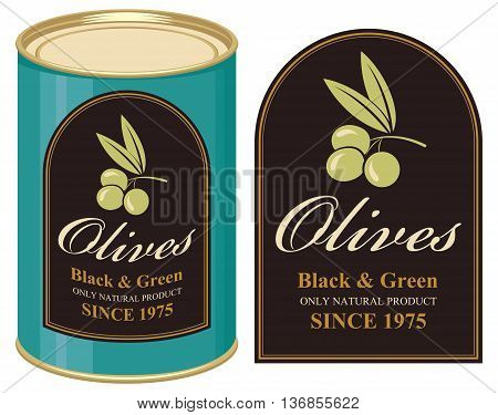 Vector illustration of a tin of black and green olives