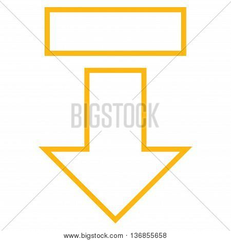 Pull Arrow Down vector icon. Style is thin line icon symbol, yellow color, white background.