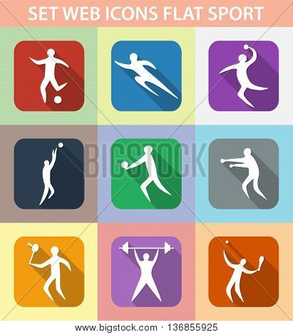 Set of sports games. Athletes involved in sports. flat design. vector illustration