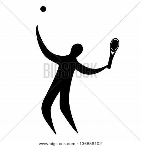 Champion athlete playing tennis. vector illustration. flat design