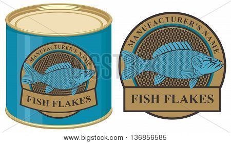 Vector illustration of a tin of fish with label