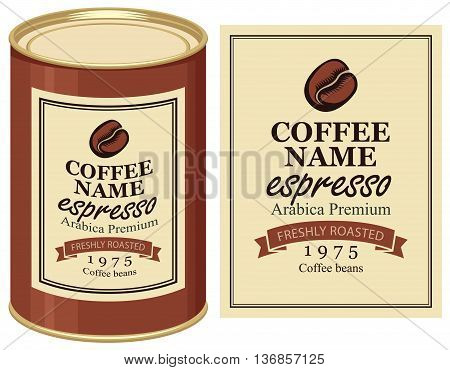 A tin with label of coffe beans