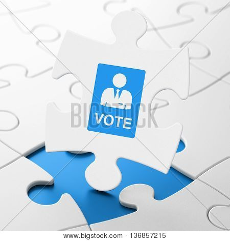 Political concept: Ballot on White puzzle pieces background, 3D rendering